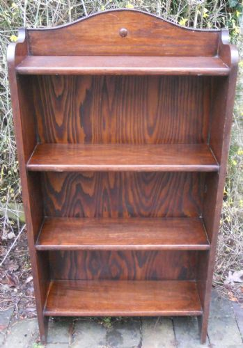 Solid Oak Standing Open Bookcase